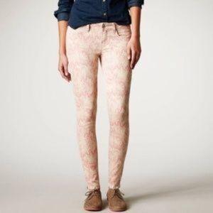 AE Pink Ikat Jeggings Zipper Ankle Skinny Pattern